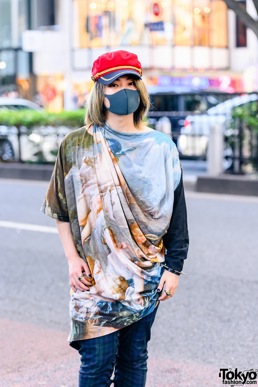 Do Not Post Painist Composer And Dj In Red Conductor Hat Vivienne Westwood Men Drape Shirt Milkboy Checkered Pants Dr Martens Boots And Milkboy Accessories Tokyo Fashion