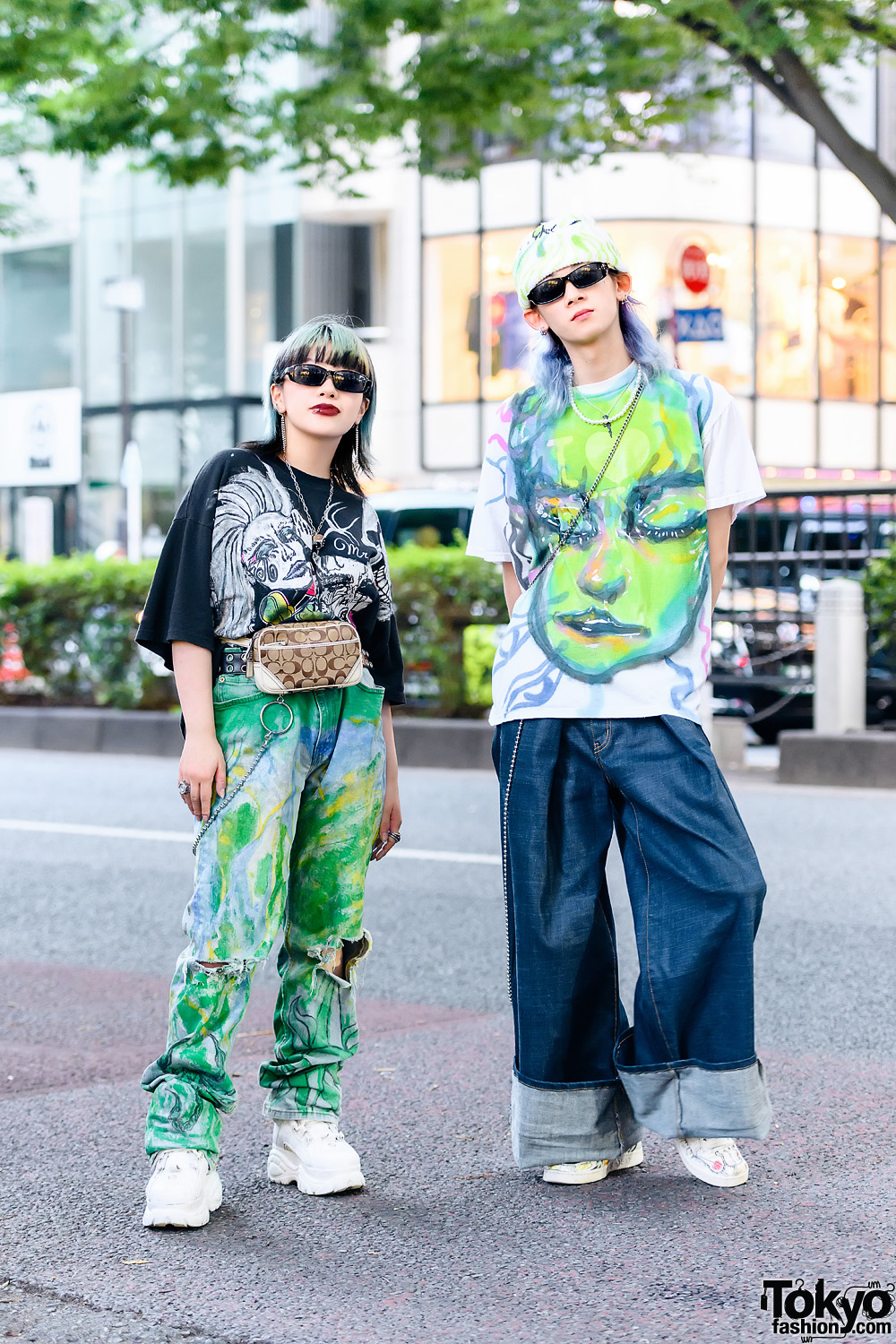 Mind Infection Painted Tokyo Street Styles w/ M.Y.O.B. Wide Leg Pants, Glomesh Bag, Buffalo London & Nike x Painted Sneakers