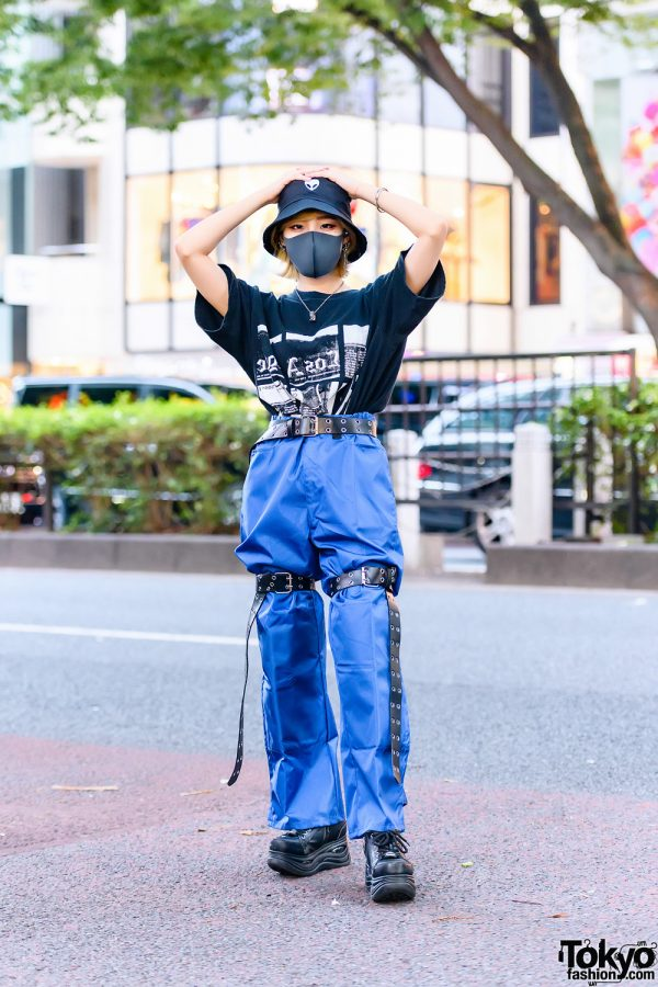 Harajuku Shop Staff w/ Alien Bucket Hat, Bless Accessories, Cote Mer Graphic Shirt, Shiny Pants, Leg Harness Belts & Yosuke Platform Shoes