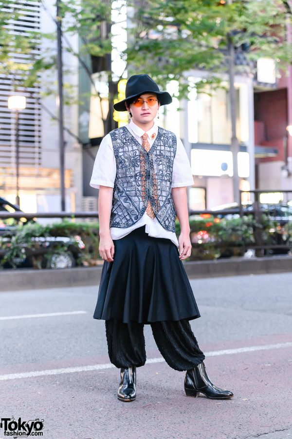 Tokyo Monochrome Menswear Street Style w/ Orange Accents, Short Brim Floppy Hat, Embroidered Vest, Handmade Skater Skirt, Textured Pants & Pointy Leather Boots