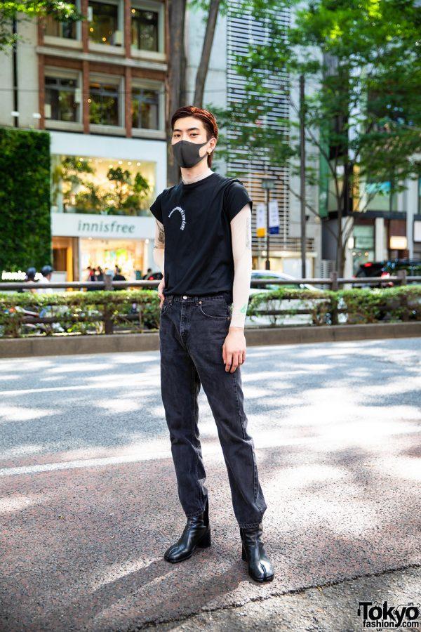Japanese Hair Stylist in Casual Minimalist Streetwear w/ Hoop Earrings, Perverze Statement Tee, Marine Serre Tattoo Sleeve Top, Levi's 505 Denims & Maison Margiela Tabi Boots