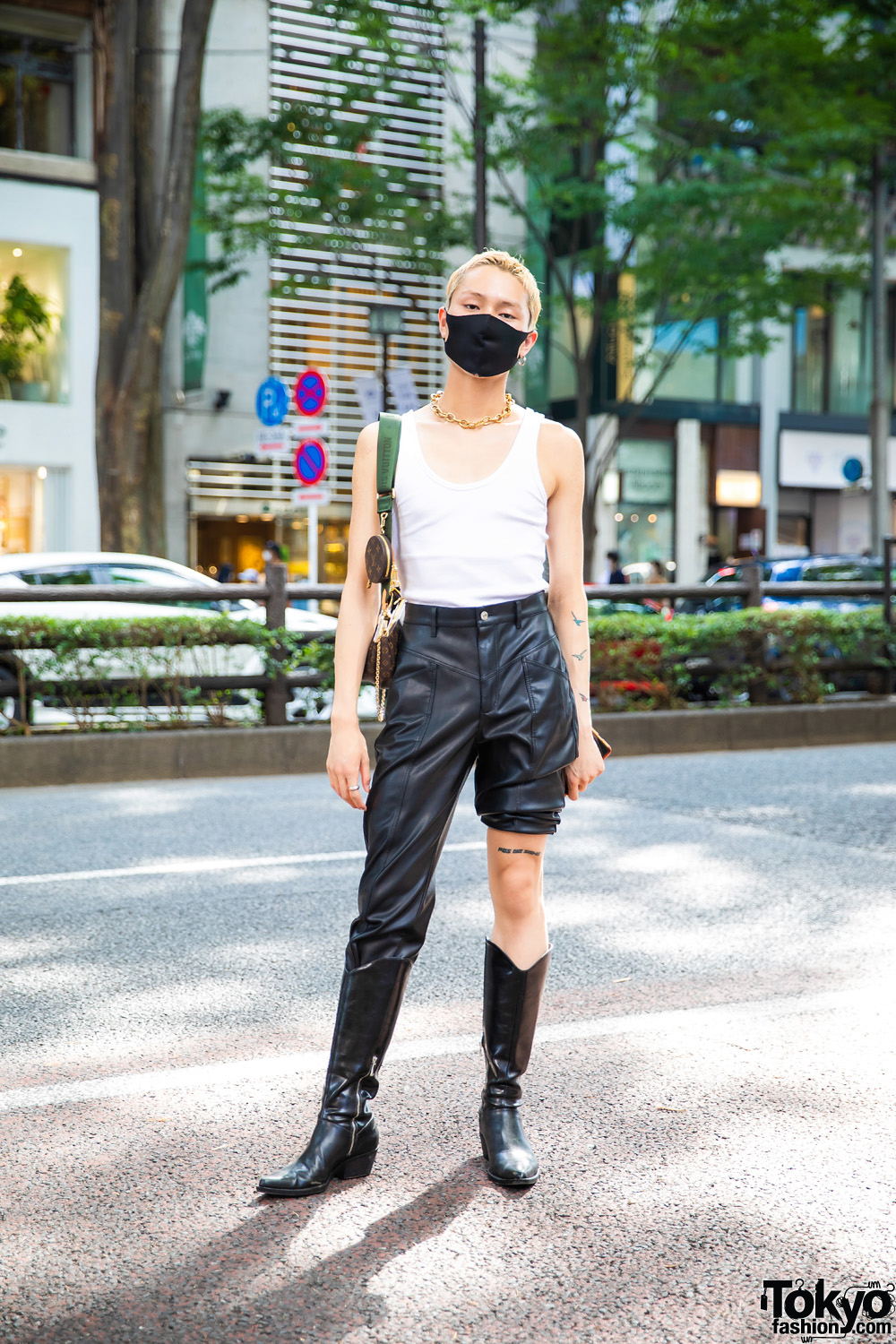 Tokyo Street Style w/ Bleached Hair, Tattoos, Single Hoop Earring, Tank Top, Y Project Leather Half Pants, Louis Vuitton Multi Pochette Bag & Vintage Cowboy Boots