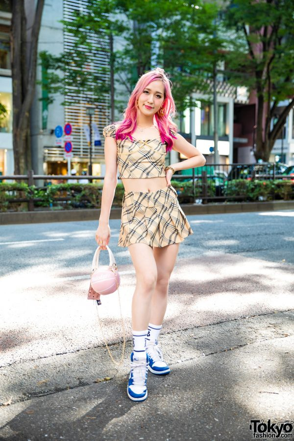 I.Am.Gia Streetwear Style w/ Ombre Pink Hair, Louis Vuitton Logo Earrings, Ear Studs, Plaid Setup, Seatrus Basketball Bag & Nike High Tops