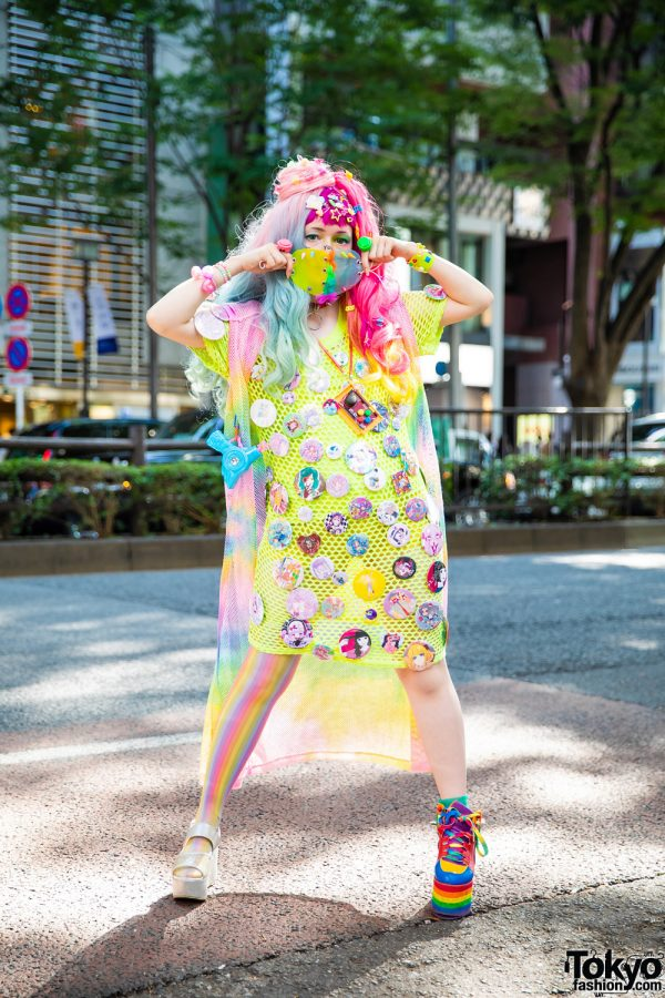 Rainbow Tokyo Street Style w/ Heart-Shaped Mask, Bodyline Wig, Decora Hair Clips, Kohl's Mesh Dress, Hot Topic Half Tights, WEGO, Multiple Badges, Aika Electronics & YRU x CS T&P Platforms