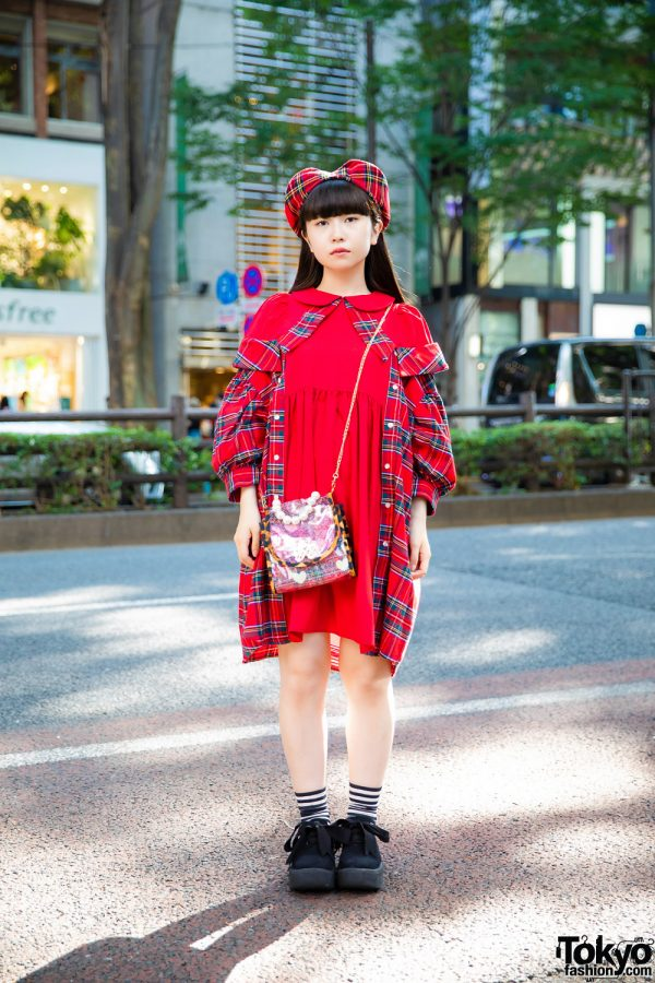 HEIHEI Red Plaid Dress in Harajuku w/ HEIHEI Red Plaid Beret, HEIHEI Butterfly Bag & Tokyo Bopper Platform Sneakers