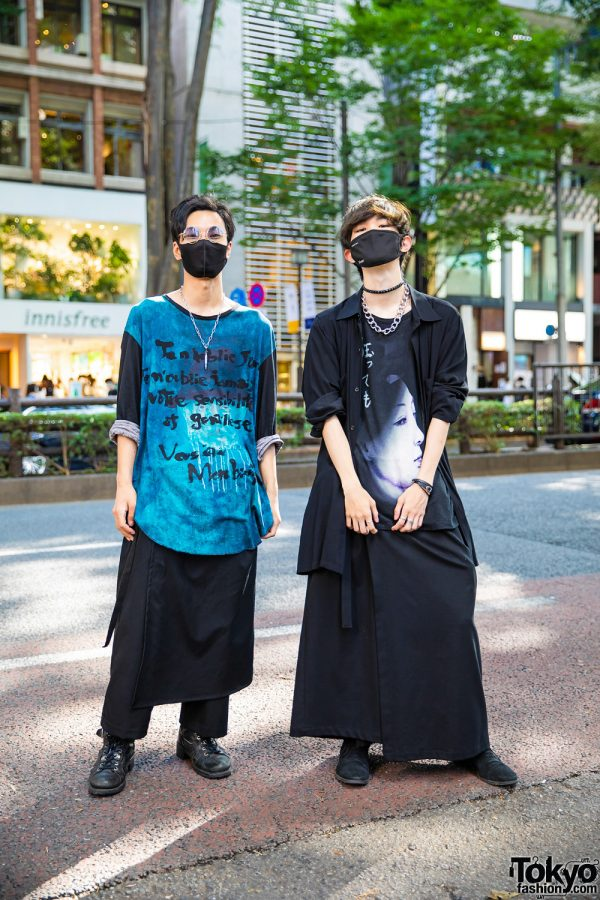 Harajuku Guys Skirted Street Styles w/ Bullet Necklace, Yohji Yamamoto, GGD Tokyo Skirt Panel, Geisha Shirt, Hermes, Pandora, Dogs & Timberland Boots