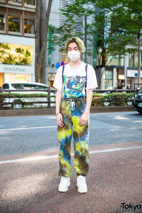 Japanese Student in Harajuku w/ Green Hair, Forever21 T-Shirt, Faith Tokyo Tie Dye Pants, WEGO Drawstring Knapsack & White Sneakers