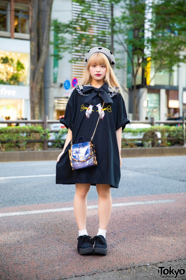 Harajuku Girl HEIHEI Fashion w/ T-Shirt Dress, Detached Collar, Beret Hat, Plaid Crossbody Bag & Tokyo Bopper Bow Shoes