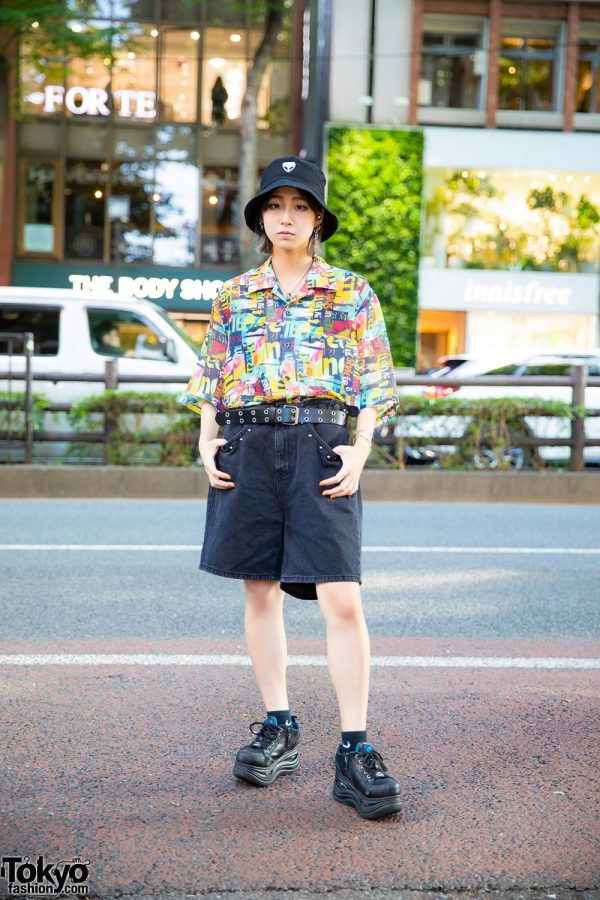 Harajuku Street Style w/ Alien Bucket Hat, Ctenca Multicolor Collared Shirt, M.Y.O.B Denim Shorts, Yosuke Platform Sneakers & Bless Accessories