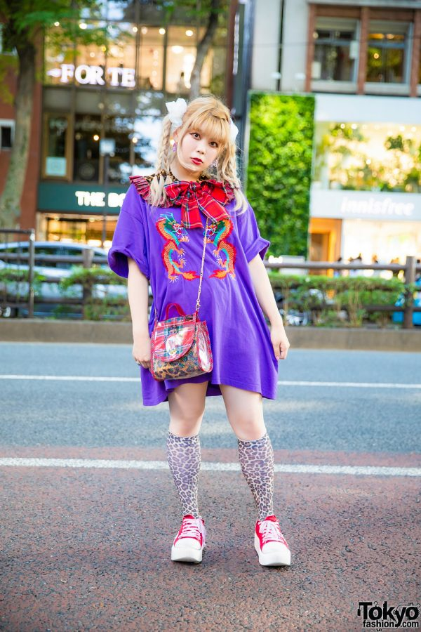 Harajuku Staffer in HEIHEI Streetwear Style w/ Braided Tails, Butterfly Earrings, Detached Collar, Dragon Shirt, Leopard Knee Socks & Tokyo Bopper Sneakers