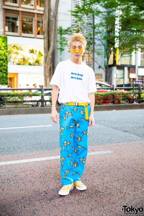 Harajuku Guy in Casual Street Style w/ White Printed Melt RAD Shirt, Golf Wang Flame Pants, Yellow Belt & Converse Sneakers