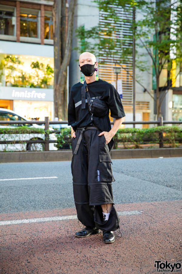 All Black Harajuku Street Style w/ Bull Horn Earrings, Bizenart Face Mask, Liebherr Earrings, Balenciaga Watch, Mixdo Convertible Pants & Loake Chelsea Boots