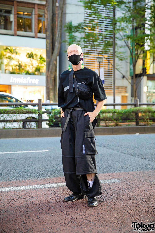 All Black Harajuku Street Style w/ Bull Horn Earrings, Bizenart Face Mask, Liebherr Earrings, Balenciaga Watch, Mixdo Convertible Pants & Loake Chelsea Boots