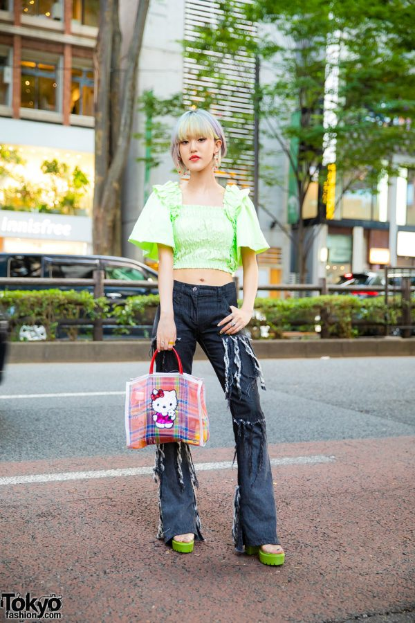 Harajuku Girl Vintage Fashion w/ Rainbow Hair, Zara Crop Top, Vintage Flare Jeans, Pad Mexico Tote, Yello Heels & Dear Sisterhood X Liquem Accesories