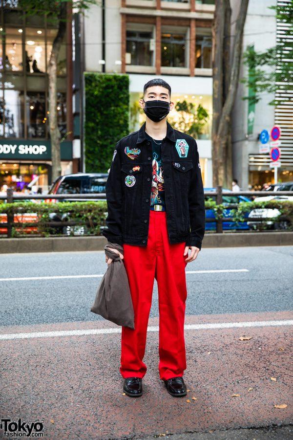 Harajuku Streetwear Look w/ Black Face Mask, Levi's Denim Jacket, Resale Fashion, & Leather Loafers