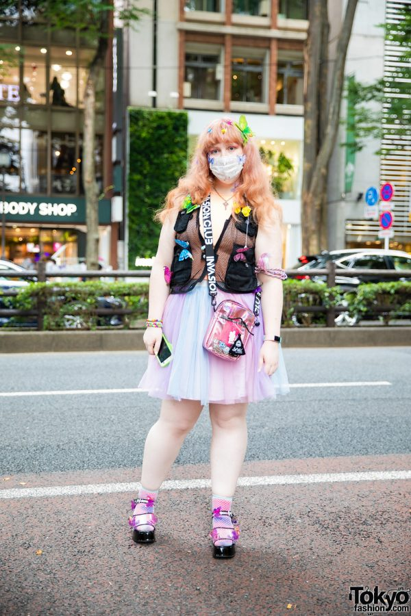 Harajuku Pastel Street Style w/ BT21 Face Mask, Handmade Butterfly Clips, Mesh Utility Vest, Tulle Skirt, Invasion Club Bag & Sugar Thrillz Sandals