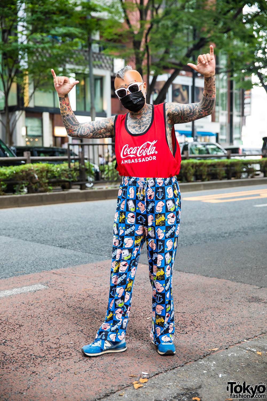 Full Body Tattoo Fashion w/ Mohawk Hair, Coca-Cola Shirt, Popeye Pajama Pants, New Balance Shoes & White Frame Sunglasses