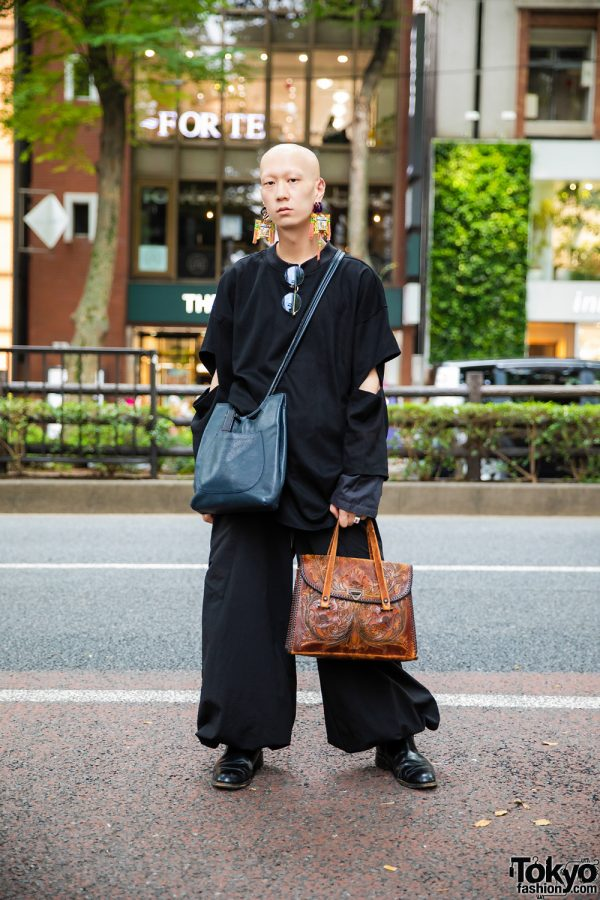 Musician/Model in All Black Fashion w/ Prologue-G Long Sleeves, Depression Balloon Pants, Loake Leather Shoes, Vintage Bags, Balenciaga Accessories & Handmade Earrings