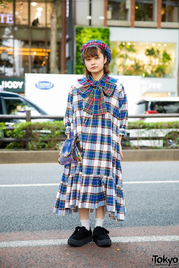 Harajuku Girl in All Plaid HEIHEI Fashion w/ HEIHEI Plaid Dress, Detached Plaid Collar, Plaid Beret, Crossbody Bag & Tokyo Bopper Bow Shoes