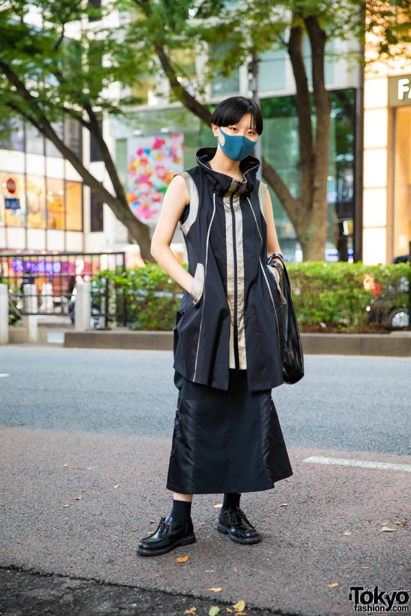 Tokyo Minimalist Street Style w/ Short Bob, Teal Face Mask, H&M Ring, Cowl Neck Vest, Long Skirt, Triangle Bag & Lee Leather Shoes