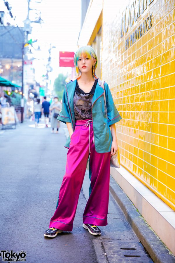 Colorful Tokyo Street Style w/ Pastel Hair, Vintage Rings, Heart Drop Earrings, RRR Satin Pajama Setup, Mikio Sakabe, UN3D Tote Bag & Keen Footwear Paracord Sneakers