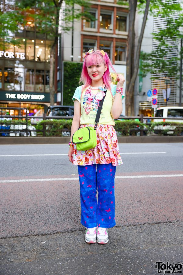 Pink-Haired Kinji Staffer in Tokyo w/ Romantic Standard Charm Necklace, Angel Blue Layered Tops, Handmade Disney Princesses Skirt, Savers Butterfly Pants, WEGO, 6%DokiDoki & Nike Sneakers