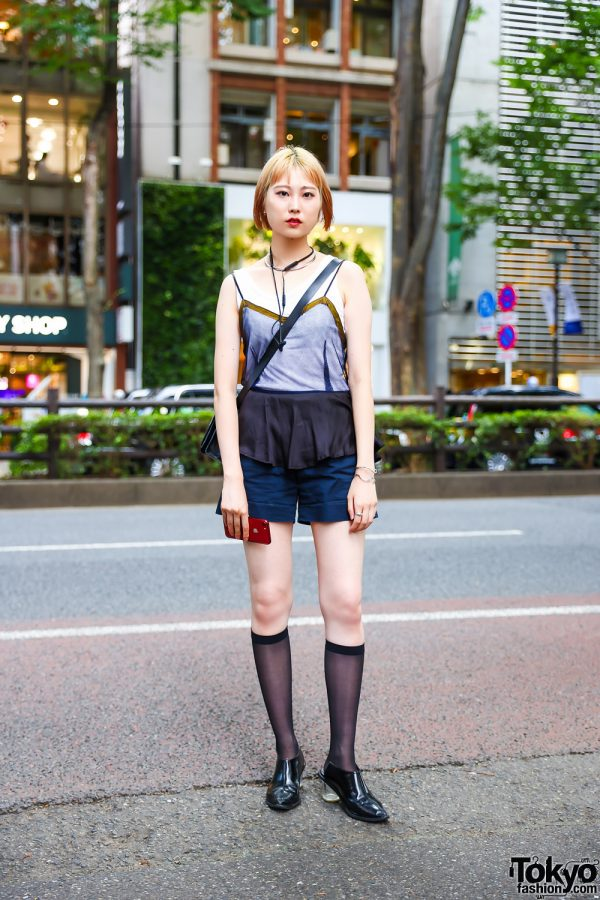 Harajuku Street Style w/ Torque Collar Necklace, Toga Peplum Mesh Top, Tailored Shorts, Leather Sling Bag & Soffitto Pointy Heeled Mules