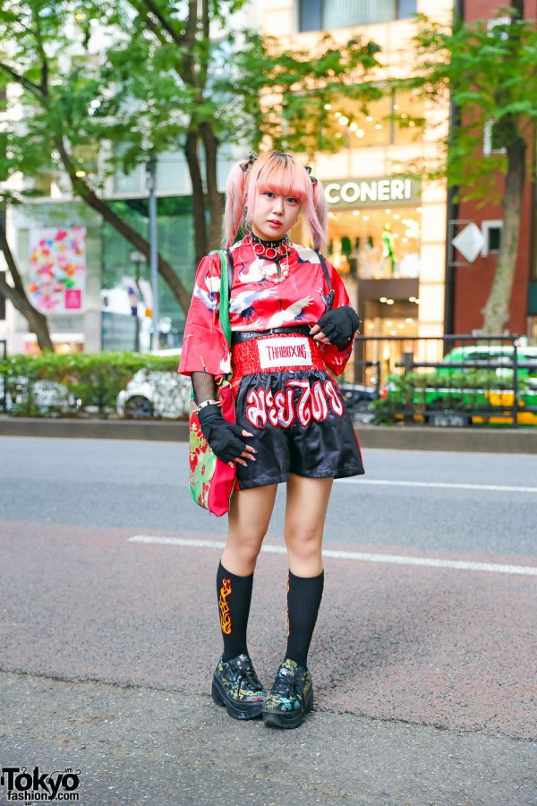 Thai Boxing Shorts Tokyo Street Style w/ Pink Twin Tails, Village Vanguard Japanese Cranes Tunic Top, Handmade Tote, Spinns, Oh Pearl & WC Dragon Shoes
