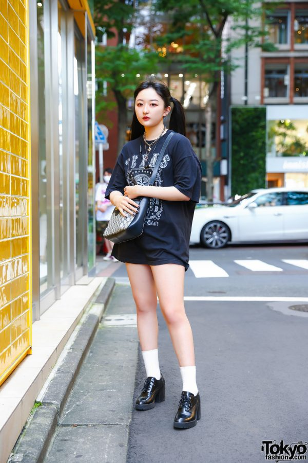 Casual Tokyo Style w/ Twin Tails, Layered Necklaces, Kinji Texas T-Shirt, Gucci Monogram Sling Bag & Zara Heeled Lace-Ups