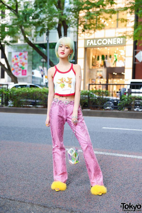 Harajuku Girl Snakeskin Style w/ Palm Angels Crop Top, Vintage Snakeskin Pants, 52 by Hikaru Matsumura Holographic Bag, Yello Fur Heels & Vivienne Westwood Dangling Earrings