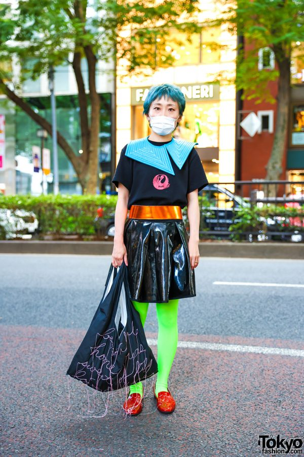 Tokyo Hair Dresser's Eclectic Street Style w/ Teal Hair, Asymmetric Detached Collar, Patent Leather Skirt, Neon Green Tights, GIGINA Bag & Sabine Skarule Loafers