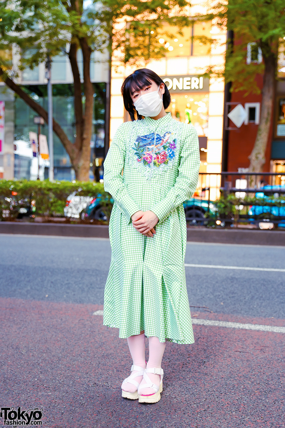 Harajuku Style w/ Fringed Bob, Face Mask, Roma Uvarov Design Checkered Dress & Yosuke Strappy Sandals
