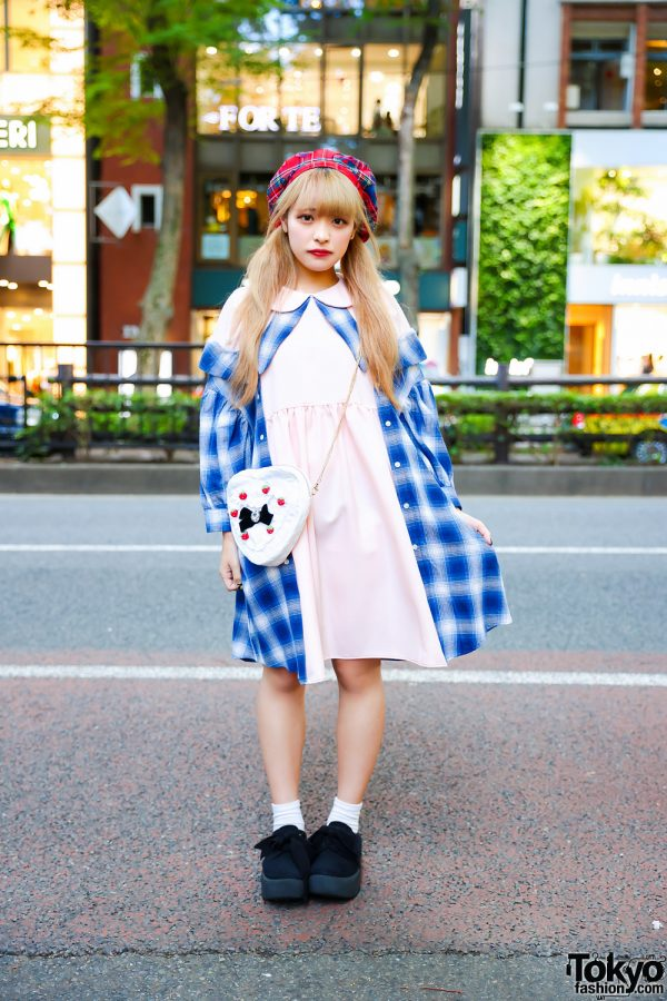 HEIHEI Tokyo Streetwear Style w/ Twin Blonde Tails, Plaid Beret, HEIHEI Babydoll Dress, Quilted Heart Bag & Tokyo Bopper Bow Shoes