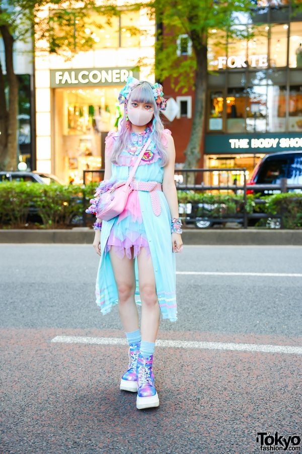 Tokyo Unicorn Pastel Fashion w/ Multicolored Hair, Kanji Earrings, 6%DokiDoki Setup, Tiered Handkerchief Skirt, Glem Handmade Accessories, Satchel Sling Bag & Demonia Metallic Boots