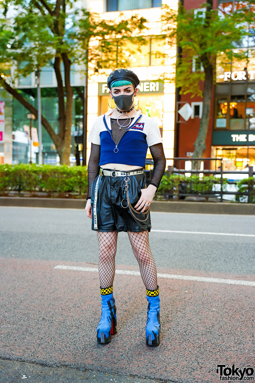 Tokyo Fishnet Street Fashion w/ Aqua Bangs, Gauged Earrings, Faux Leather Beret, FILA Zip-Up Top, Dolls Kill Cuffed Shorts, Garibaldi, Urban Outfitters, & Current Mood Cityscape Booties