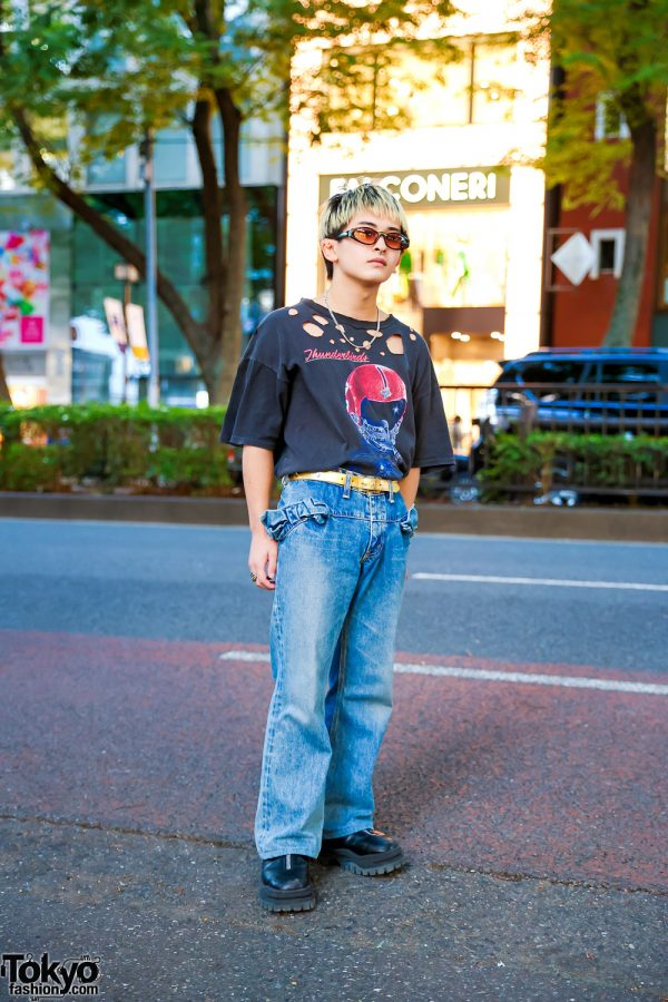 Harajuku Guy in Vintage Tee w/ Junya Watanabe Comme Des Garcons Jeans, Eytys Platform Shoes and Vintage Silver Accessories