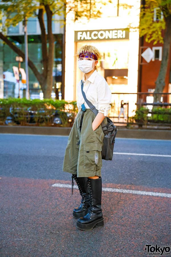 Japanese Fashion Student w/ Spiked Hair, Headband, Lighter Holder Necklace, Rolled Sleeves Shirt, Oversized Cargo Shorts, Samsonite Messenger Bag & Demonia Knee Boots