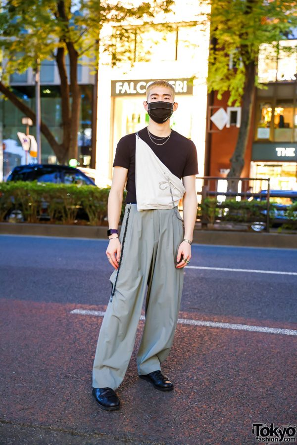 Tokyo Street Style w/ Blonde Hair, Pleated Slacks, Hyein Seo Scarf Bag, Vintage Turquoise Jewelry & ASICS Leather Sneakers
