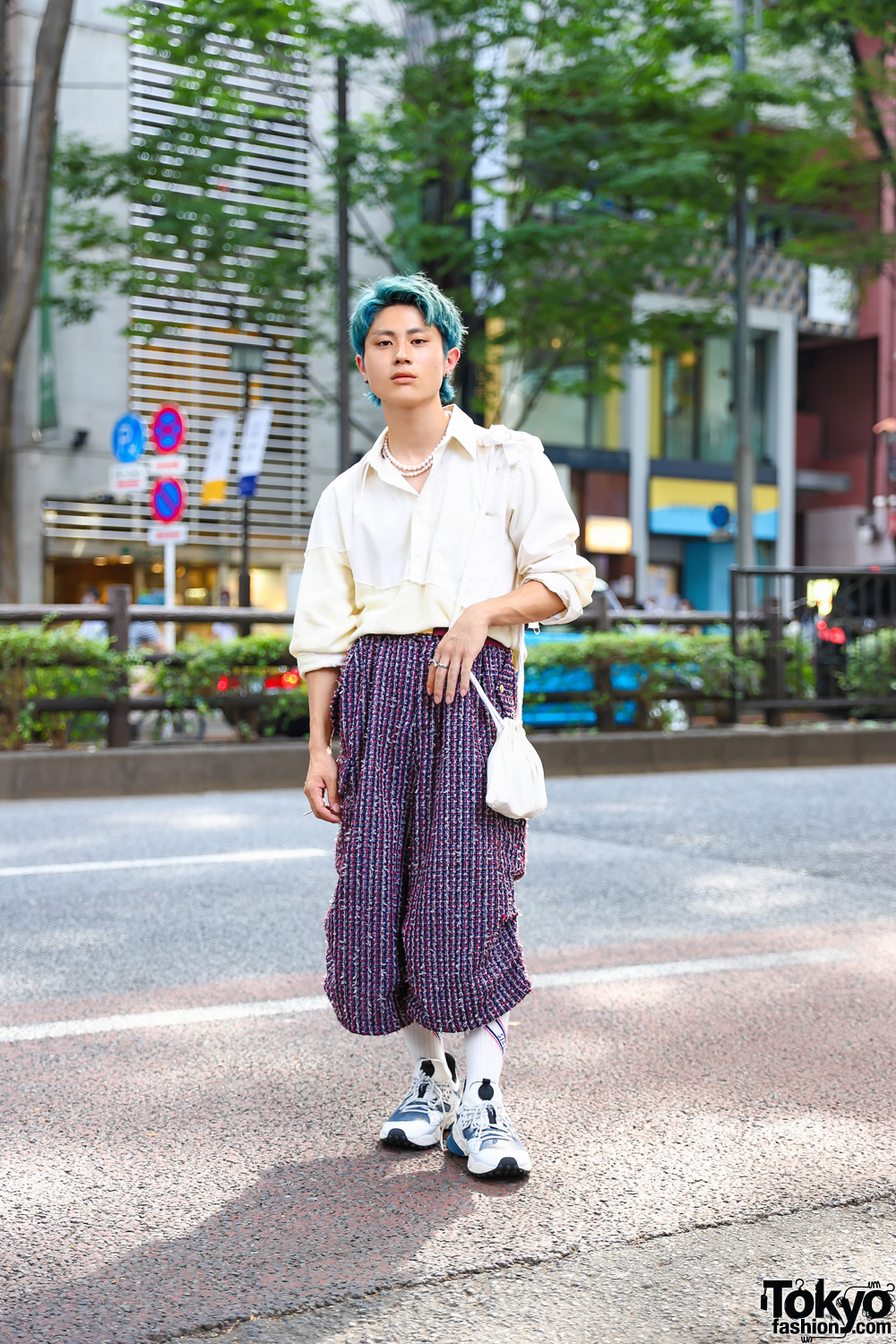 Tokyo Menswear Street Style w/ Aqua Hair, Pearl Necklaces, Sulvam, Kota Gushiken, Landlord NY Tweed Pants, Elena Dawson Pouch & Flower Mountain Sneakers