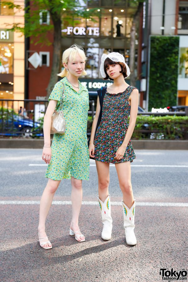 Tokyo Summer Street Styles w/ Lace Hat, X-Girl, Thrift Tokyo, Tiffany&Co, Charles & Keith, Bigotre & Vintage Cowboy Boots