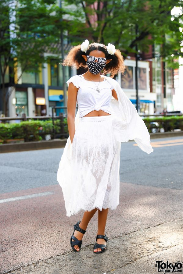 Graphic Designer & Model in Tokyo w/ Elven Caravan Elf Ears, Lulu Frenchie AFRO Sunglasses, House of Aris & Pansy Sandals