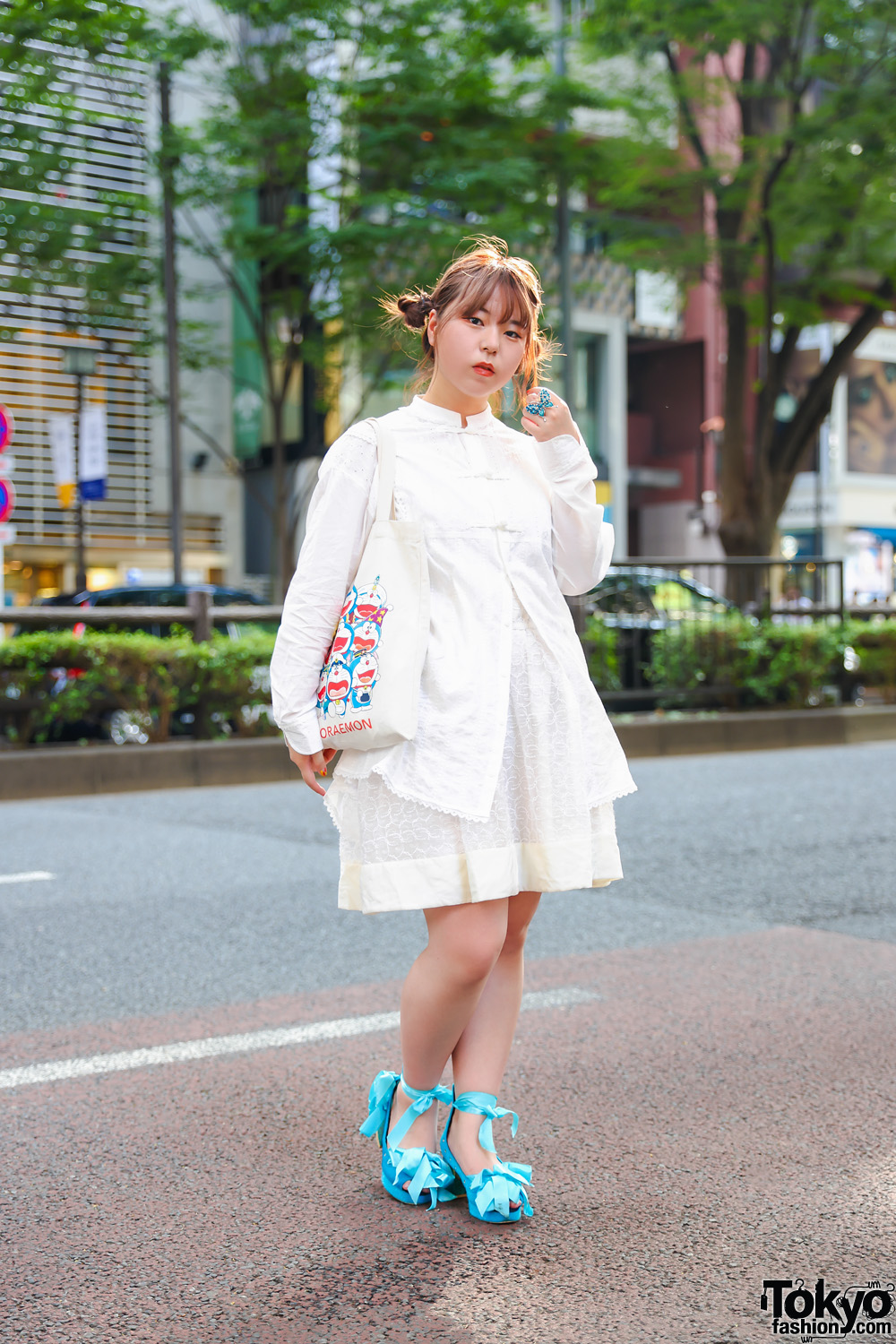 All Cream Outfit w/ Doraemon Canvas Tote, Blue Jenny Fax Ribbon Tie Peep-Toe Heels & In Harajuku Blue Butterfly Statement Ring