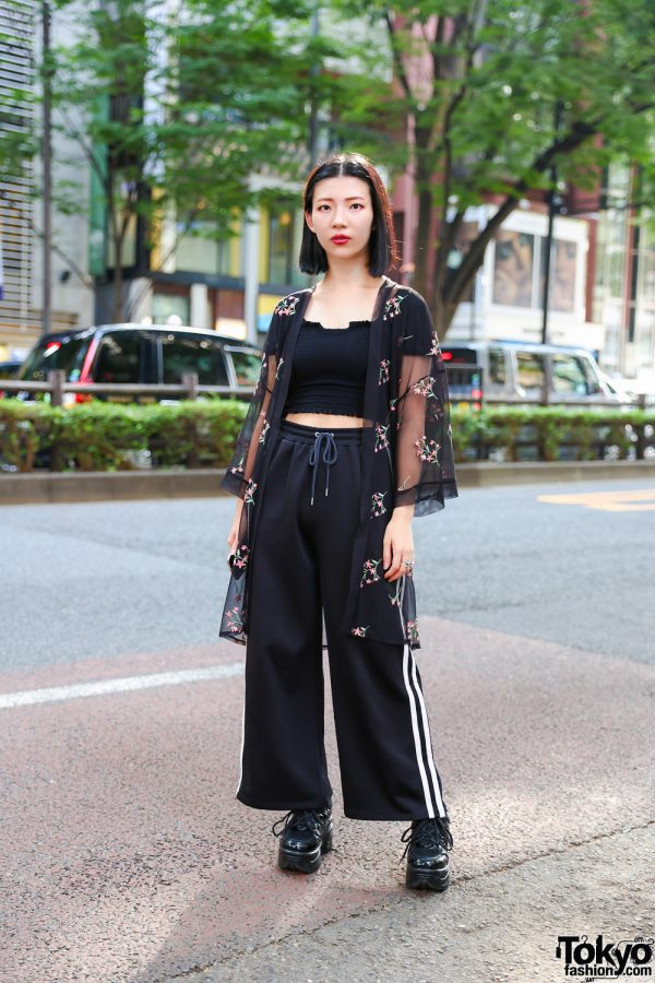 All Black Fashion w/ Crop Top, Sheer Cover-Up, Wide Leg Track Pants & Lace-Up Platform Shoes