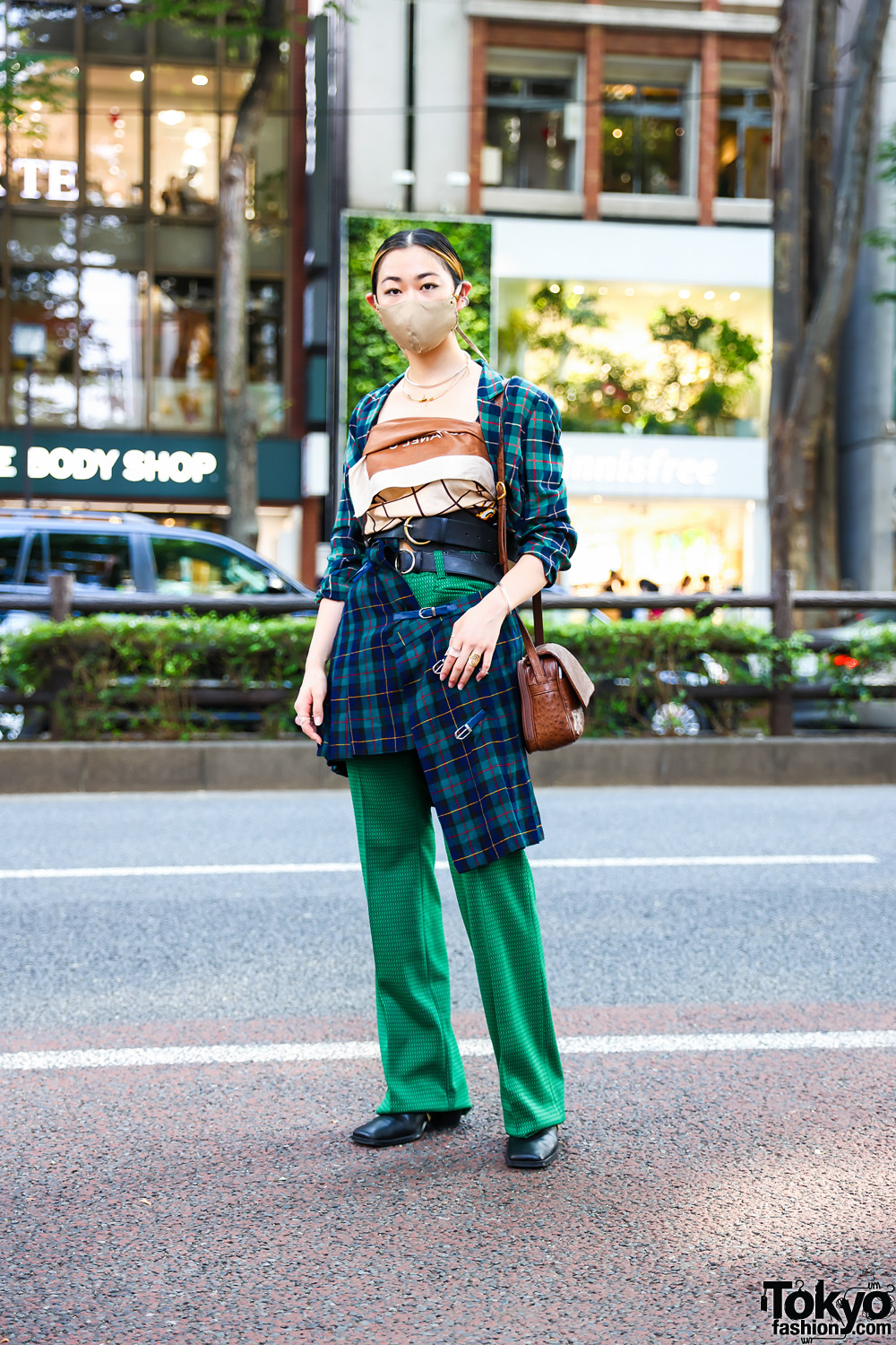 Tokyo Layered Street Style w/ Chanel Scarf Top, Plaid Skirt Suit, Patterned Pants, Handmade Accessories, Textured Leather Bag & Zara Square Boots