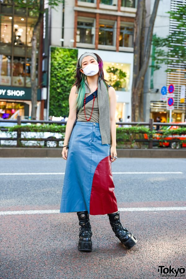 Casual Tokyo Street Style w/ Pink & Green Hair Streaks, Faux Leather Maxi Skirt, Vivienne Westwood, Dior, Chrome Hearts, Gucci & New Rock Boots