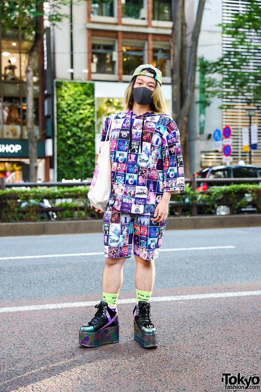 MilkBoy Streetwear Style in Tokyo w/ Iridescent Cap, Hoodie Shirt & Matching Shorts, Neon Socks, Land By Milkboy Tote & YRU Platforms