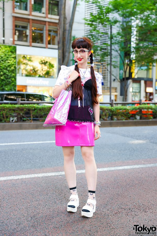 Harajuku Street Style w/ Twin Tails, Lingerie Top, 6%DokiDoki, Candy Stripper, Forever21 Patent Skirt, Vivienne Westwood, WC and White Sandals