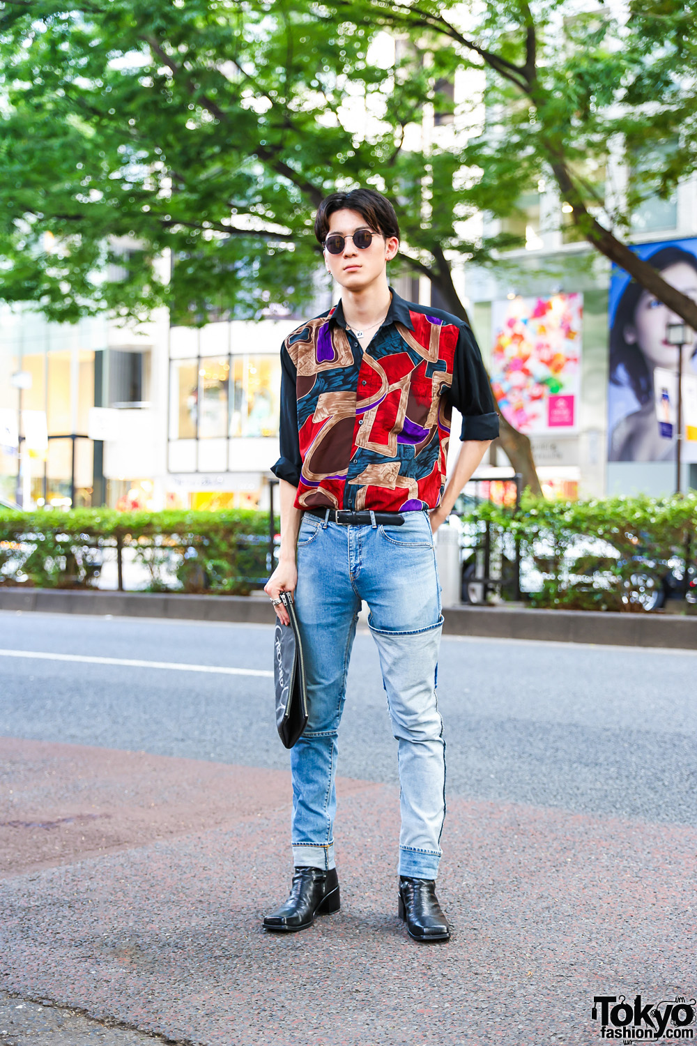 Casual Menswear in Tokyo w/ Round Sunglasses, Abstract Shirt, JieDa Denim Pants, Ground Y Clutch & John Lawrence Sullivan