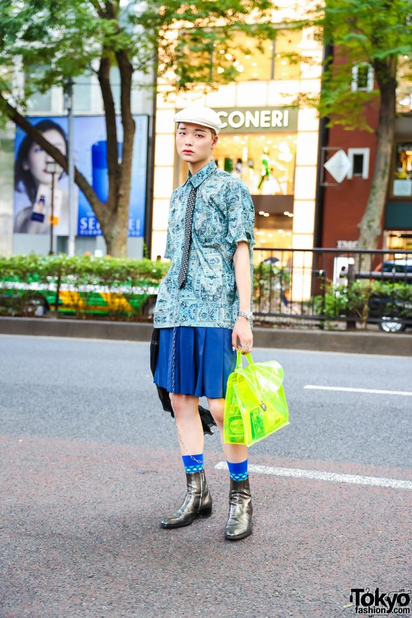 Japanese Street Style w/ Newsboy Cap, Origami Earrings, Comme des Garcons Homme Plus Pleated Skirt, CDG x Junya Watanabe Bag & YSL Metallic Boots