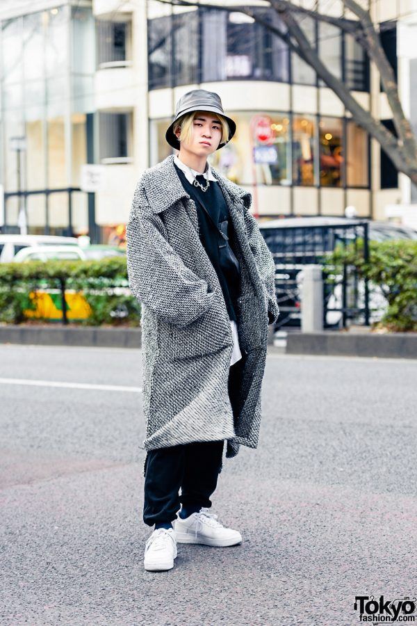 Harajuku Layered Winter Street Style w/ Bucket Hat, Ikumi Thick Coat, Layered Vintage Shirts, Moschino Pants, Nike Sneakers, Gucci Sling Bag & Vintage Silver Accessories